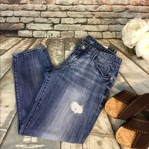 Maurice's Distressed & Sandblasted Stitched Jeans